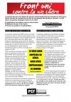 Tract Front uni contre la vie chère