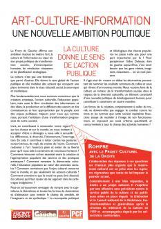 Arts, culture et information : une nouvelle ambition politique
