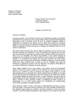 Aides économiques et démocratie sociale : lettre de LTG au président Denanot