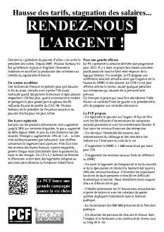 Hausse des tarifs, stagnation des salaires... RENDEZ-NOUS  L'ARGENT !